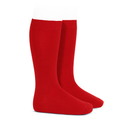 Plain stitch basic knee high socks RED