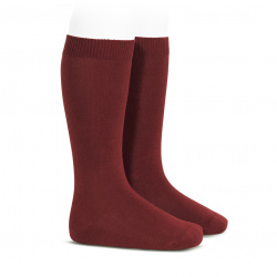 Plain stitch basic knee high socks BURGUNDY
