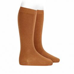 Plain stitch basic knee high socks CINNAMON