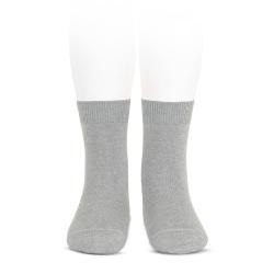 Plain stitch basic short socks ALUMINIUM