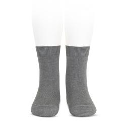 Plain stitch basic short socks LIGHT GREY