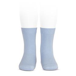 Plain stitch basic short socks LIGHT BLUE