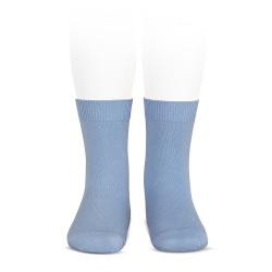 Plain stitch basic short socks BLUISH