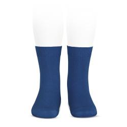 Plain stitch basic short socks INDIGO BLUE