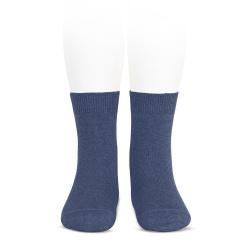 Plain stitch basic short socks JEANS