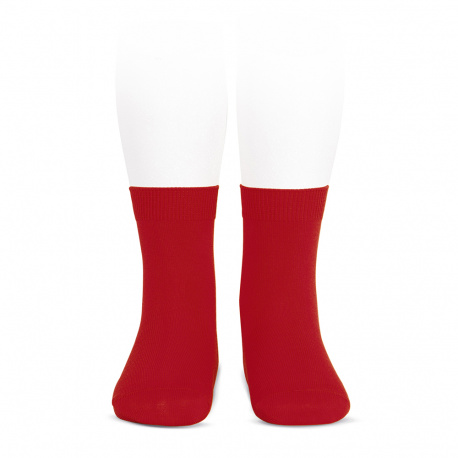 Plain stitch basic short socks RED