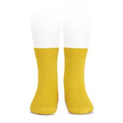 Plain stitch basic short socks YELLOW