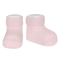 1x1 ankle socks with folded cuff PINK