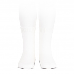 Elastic cotton short socks WHITE