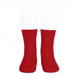 Elastic cotton short socks RED
