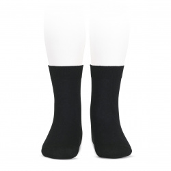 Elastic cotton short socks BLACK