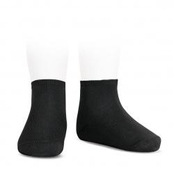 Elastic cotton ankle socks BLACK