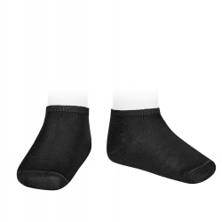 Elastic cotton trainer socks BLACK