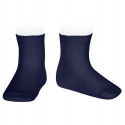 Plain stitch short socks NAVY BLUE