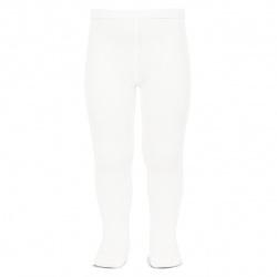 Plain stitch spring tights WHITE