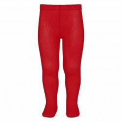 Plain stitch spring tights RED