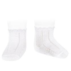 Pattern short socks WHITE