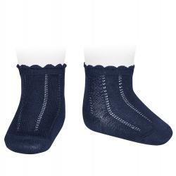 Pattern short socks NAVY BLUE