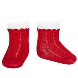 Pattern short socks RED