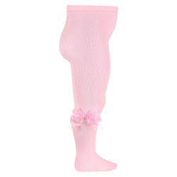 Ceremony tights with organza bow PINK