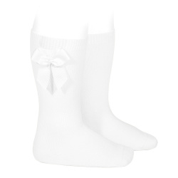 Knee-high socks with grossgrain side bow WHITE