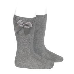 Knee-high socks with grossgrain side bow LIGHT GREY