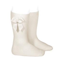 Knee-high socks with grossgrain side bow LINEN
