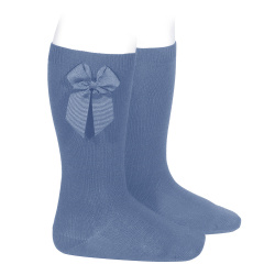 Knee-high socks with grossgrain side bow FRENCH BLUE