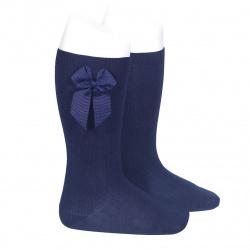 Knee-high socks with grossgrain side bow NAVY BLUE