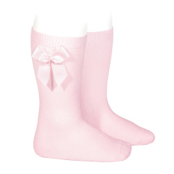 Knee-high socks with grossgrain side bow PINK