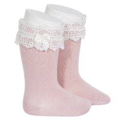 Lace trim knee socks with bow PALE PINK