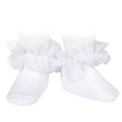 Frill tulle ankle socks WHITE