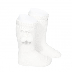 Perle knee high socks with pompoms WHITE