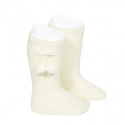 Perle knee high socks with pompoms BEIGE