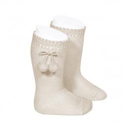 Perle knee high socks with pompoms LINEN