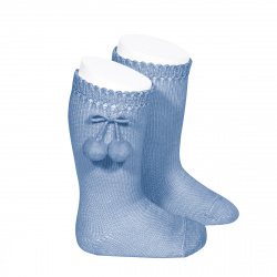 Perle knee high socks with pompoms BLUISH