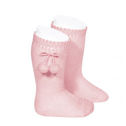 Perle knee high socks with pompoms PINK