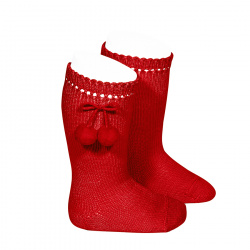 Perle knee high socks with pompoms RED