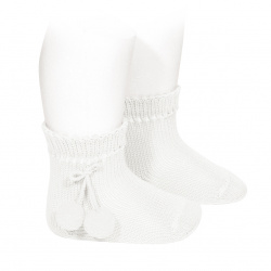 Perle short socks with pompoms WHITE