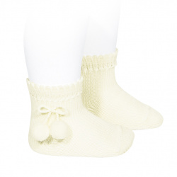 Chaussettes courtes coton avec pompoms ECRU