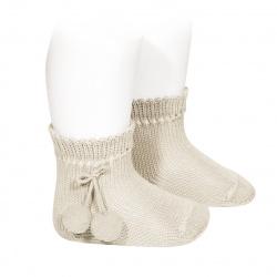 Chaussettes courtes coton avec pompoms LIN