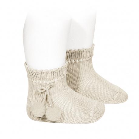 Perle short socks with pompoms LINEN