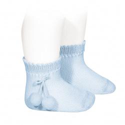 Chaussettes courtes coton avec pompoms BLEU BEBE