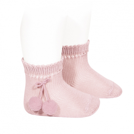 Perle short socks with pompoms PINK