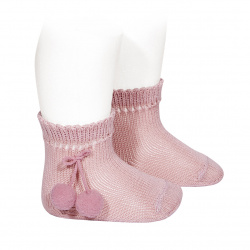 Perle short socks with pompoms PALE PINK
