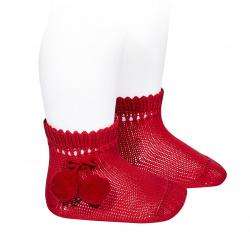 Chaussettes courtes coton avec pompoms ROUGE