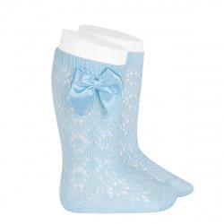 Perle geometric openwork knee high sockswith bow BABY BLUE