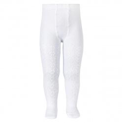 Perle geometric openwork tights WHITE