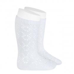Perle geometric openwork knee high socks WHITE