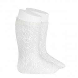 Perle geometric openwork knee high socks CREAM
